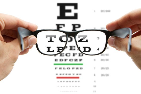 Picture of glasses being held in front of an eye exam letter chart