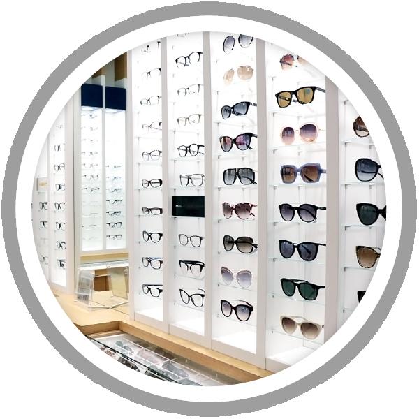 360 eyecare toronto - eyeglasses and sunglasses on wall for virtual shopping